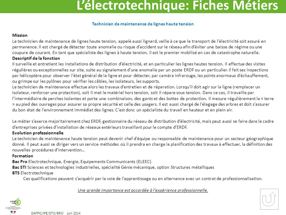L lectrotechnique m tiers et formations dafpic ppt for Haute tension definition