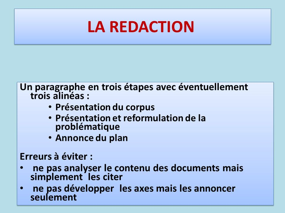 Introduction LA REDACTION