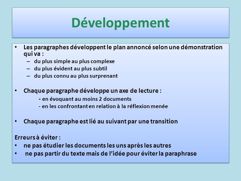 Développement Les paragraphes développent le plan annoncé selon une démonstration qui va : du plus simple au plus complexe.
