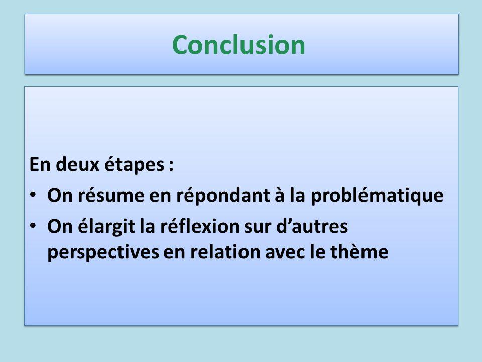 Conclusion En deux étapes : On résume en répondant à la problématique