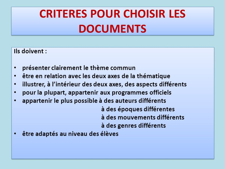 CRITERES POUR CHOISIR LES DOCUMENTS