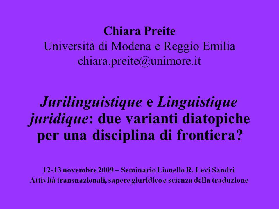 Chiara Preite Università di Modena e Reggio Emilia chiara