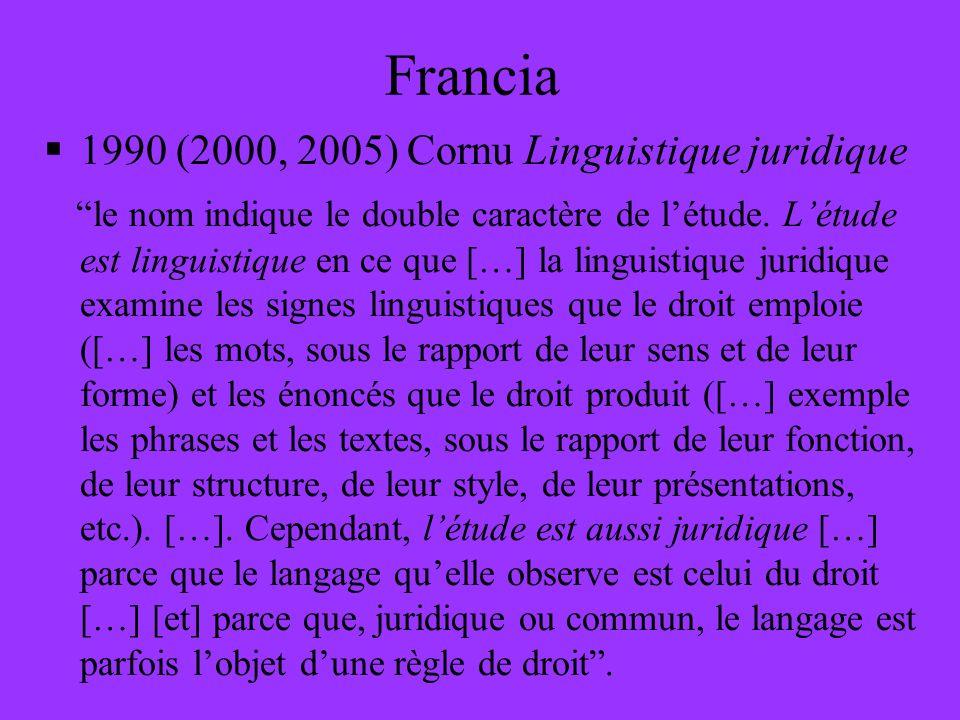 Francia 1990 (2000, 2005) Cornu Linguistique juridique