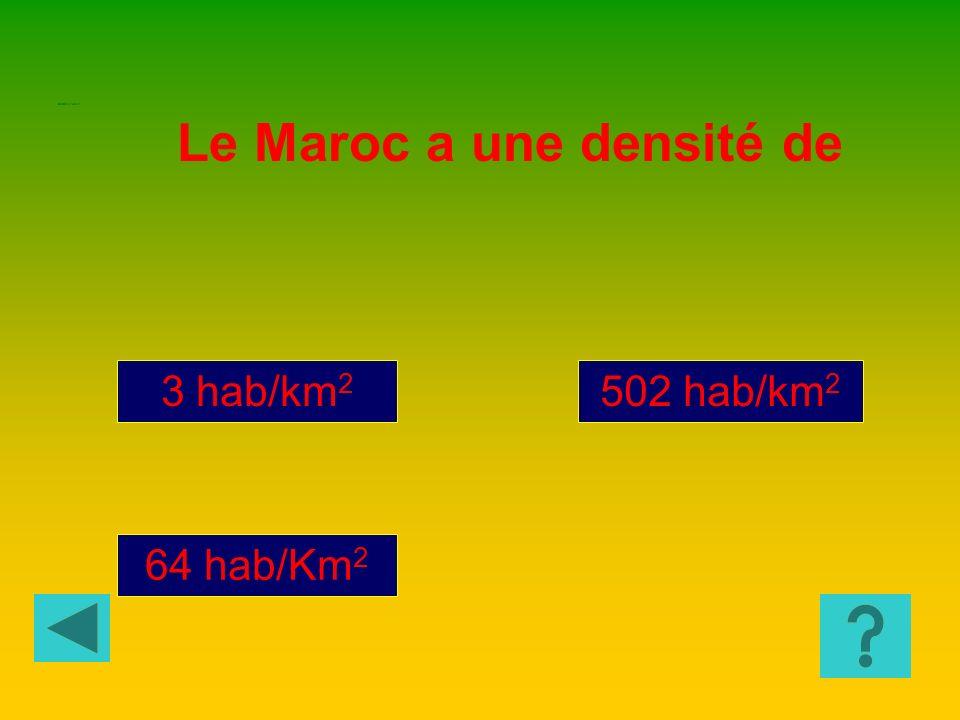Le Maroc a une densité de