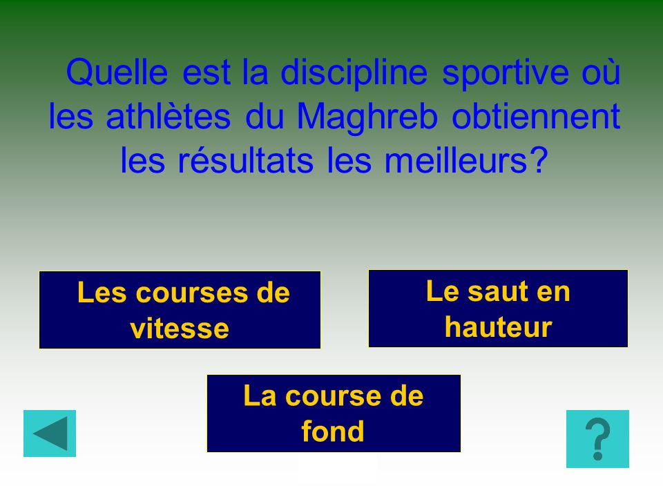 Quelle est la discipline sportive où les athlètes du Maghreb obtiennent les résultats les meilleurs