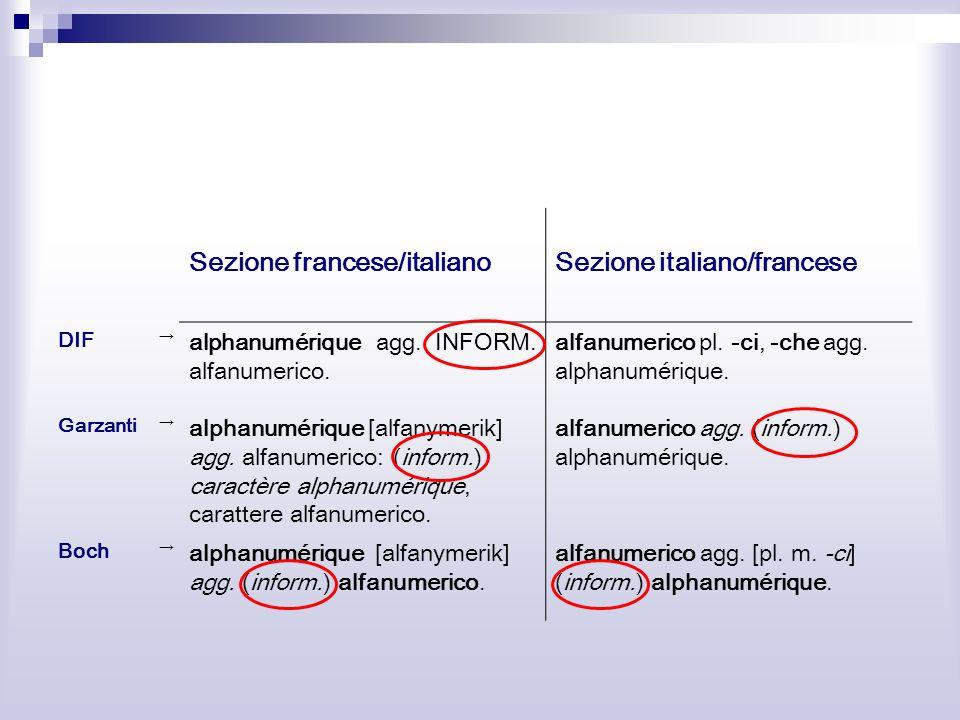 Sezione francese/italiano Sezione italiano/francese