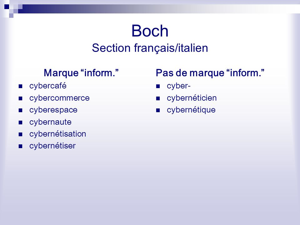 Boch Section français/italien