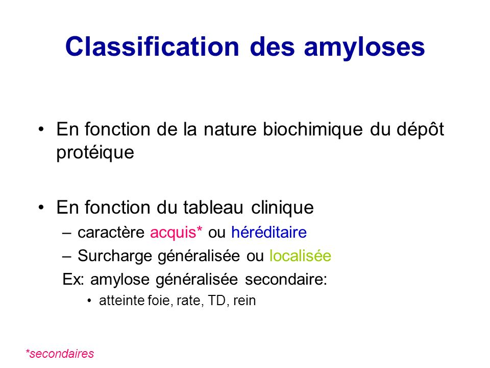 Classification des amyloses