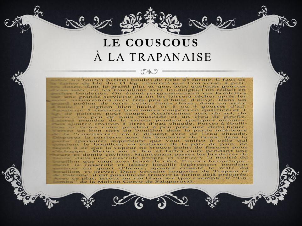 Le COUSCOUS À La TRApanaise
