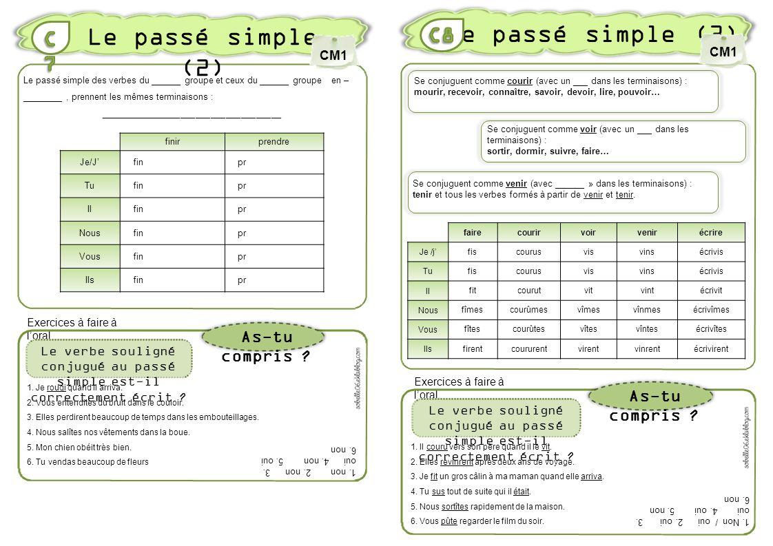 Le passé simple (3) Le passé simple (2) C8 C7 As-tu compris