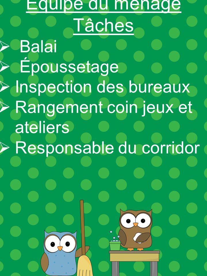 Équipe du ménage Tâches Balai Époussetage Inspection des bureaux