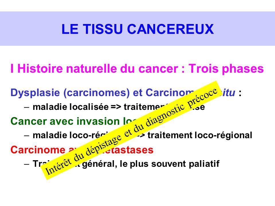 LE TISSU CANCEREUX I Histoire naturelle du cancer : Trois phases