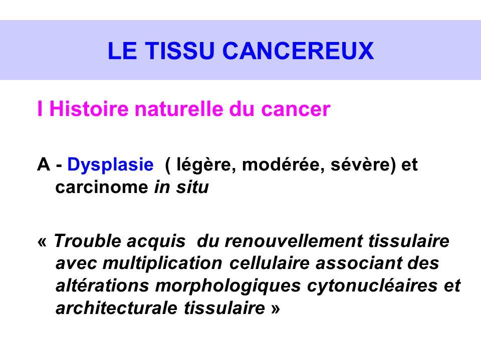 LE TISSU CANCEREUX I Histoire naturelle du cancer