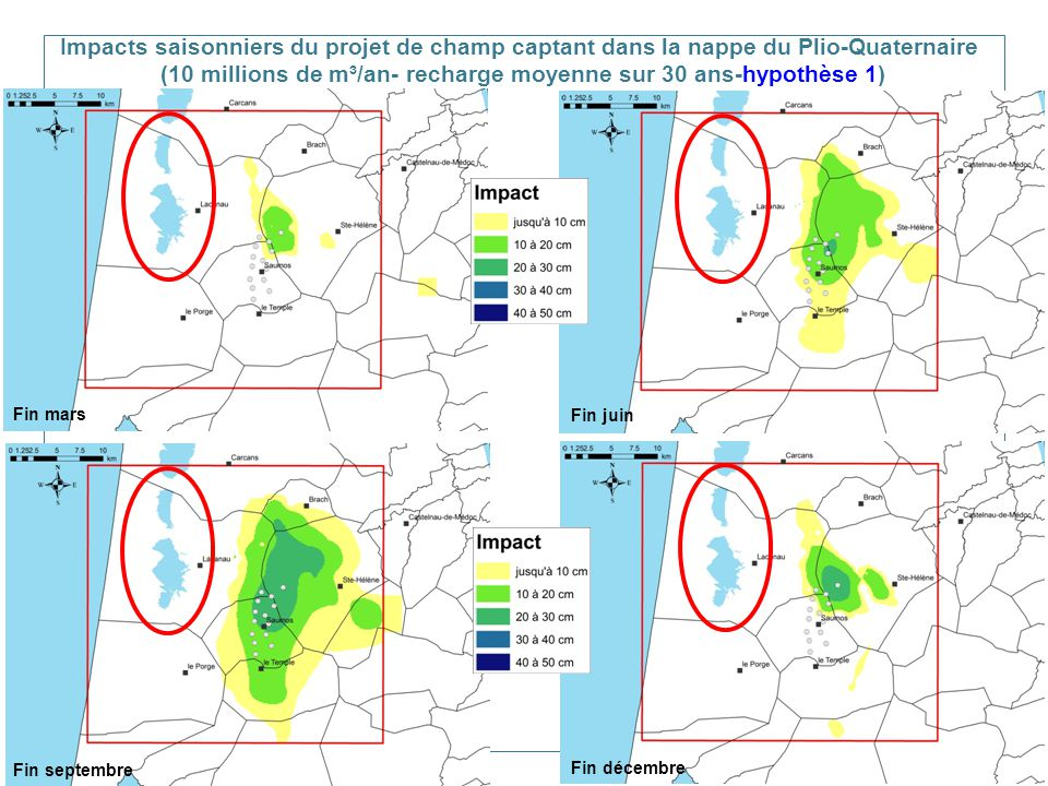 Impacts saisonniers du projet de champ captant dans la nappe du Plio-Quaternaire (10 millions de m³/an- recharge moyenne sur 30 ans-hypothèse 1)