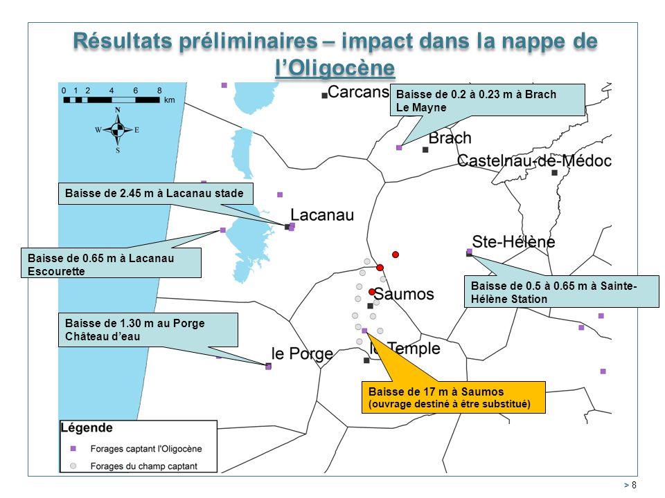 Résultats préliminaires – impact dans la nappe de l'Oligocène