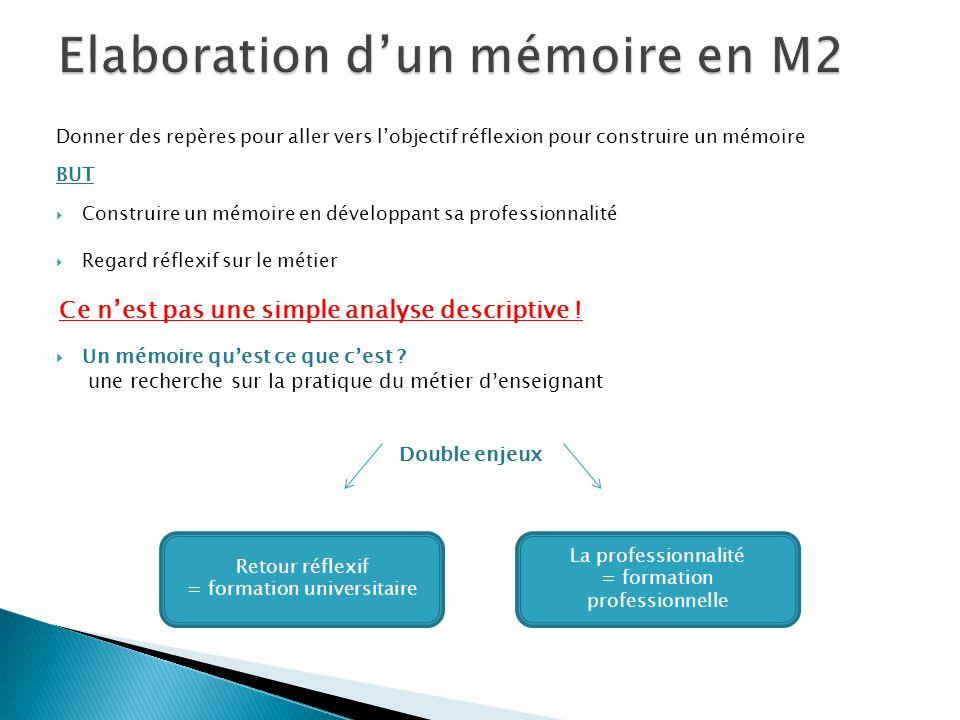 Elaboration d'un mémoire en M2