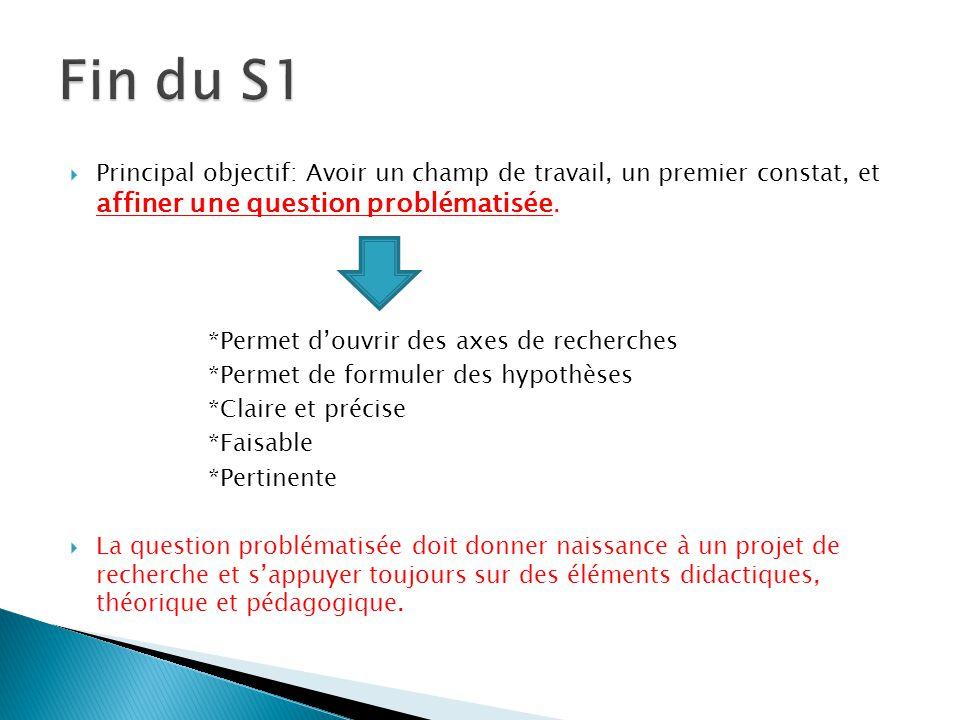 Fin du S1 Principal objectif: Avoir un champ de travail, un premier constat, et affiner une question problématisée.