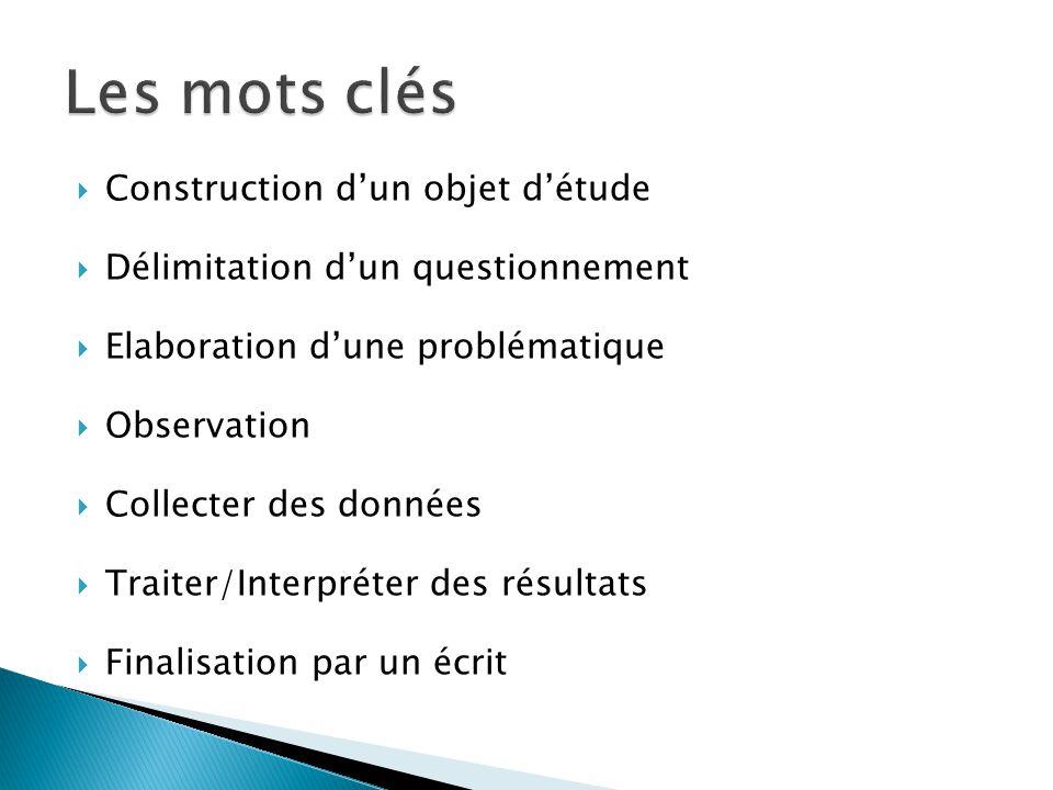 Les mots clés Construction d'un objet d'étude