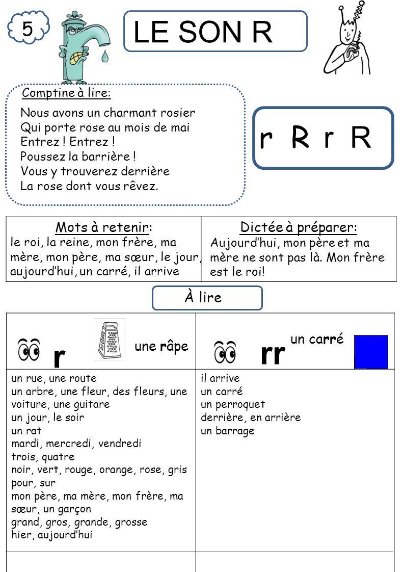 rr r r R r R 5 À lire Mots à retenir: Dictée à préparer: un carré