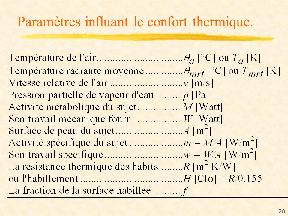 Le confort ppt t l charger for Bilan thermique chambre froide