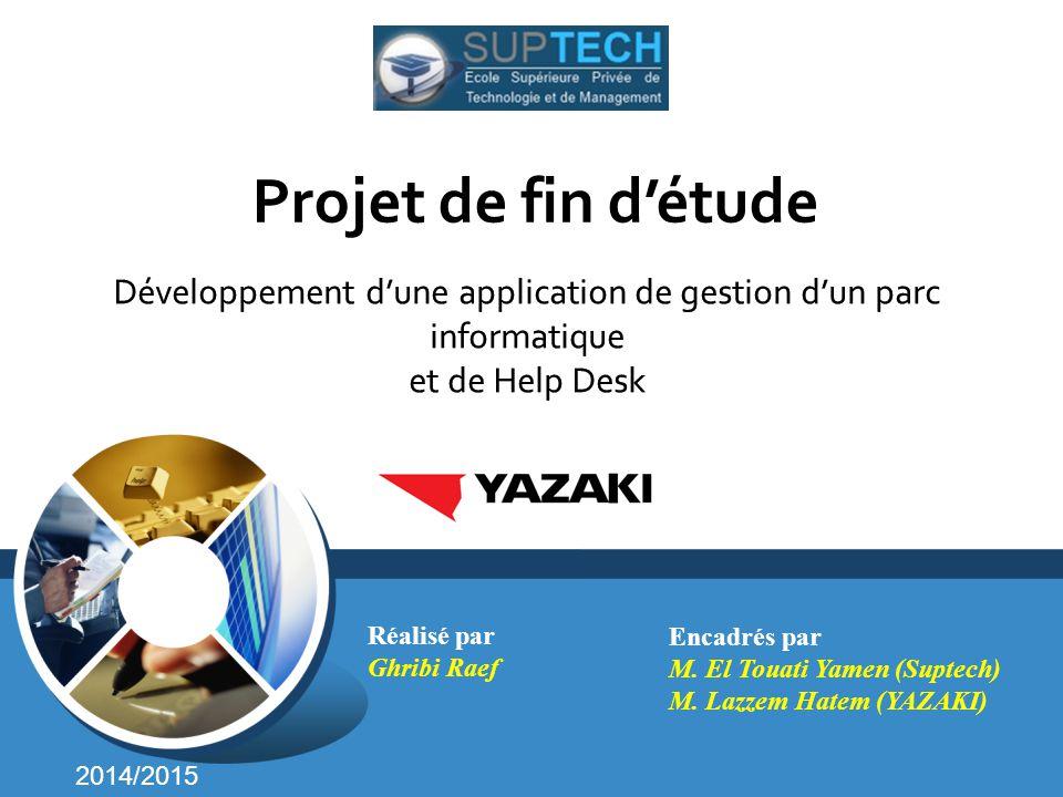 Projet de fin d'étude Développement d'une application de gestion d'un parc informatique et de Help Desk.