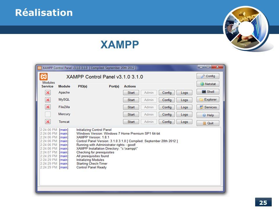 Réalisation XAMPP On a utilisé XAMPP pour l'hébérgement de l'application Web