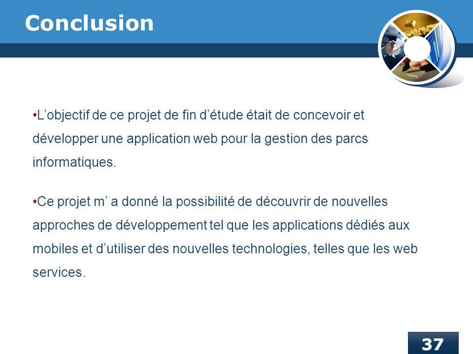 Conclusion L'objectif de ce projet de fin d'étude était de concevoir et développer une application web pour la gestion des parcs informatiques.