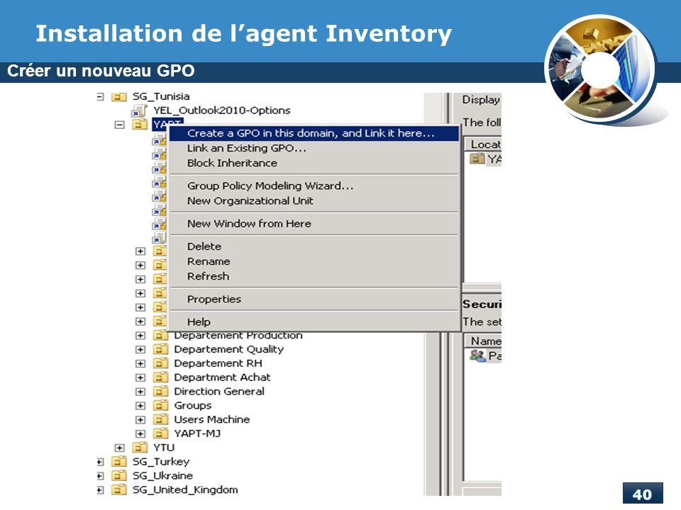 Installation de l'agent Inventory
