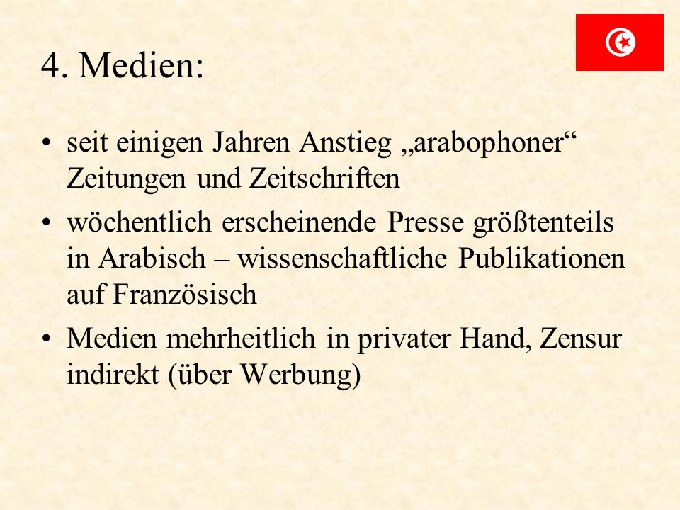 """4. Medien:seit einigen Jahren Anstieg """"arabophoner Zeitungen und Zeitschriften."""