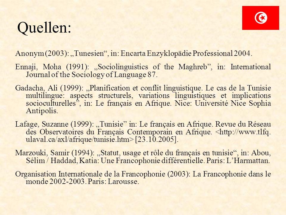 """Quellen:Anonym (2003): """"Tunesien , in: Encarta Enzyklopädie Professional 2004."""