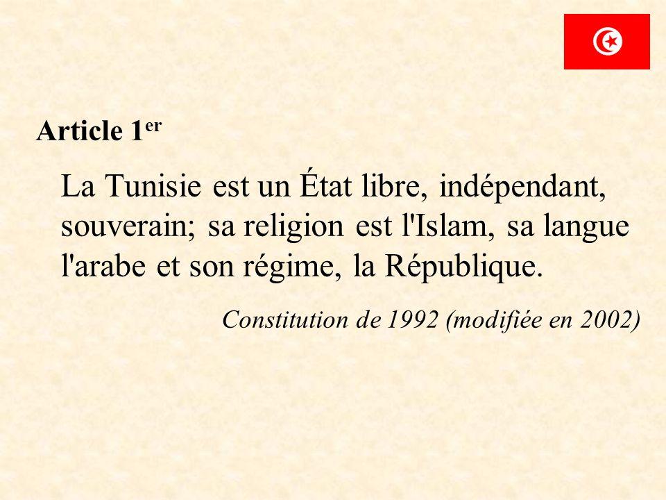 Article 1er La Tunisie est un État libre, indépendant, souverain; sa religion est l Islam, sa langue l arabe et son régime, la République.