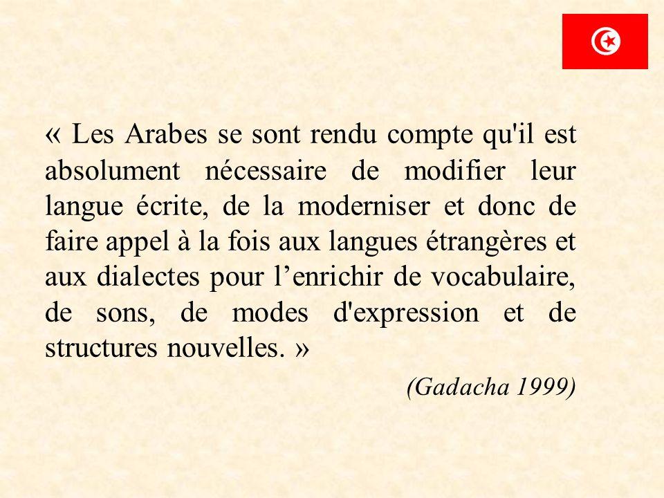 « Les Arabes se sont rendu compte qu il est absolument nécessaire de modifier leur langue écrite, de la moderniser et donc de faire appel à la fois aux langues étrangères et aux dialectes pour l'enrichir de vocabulaire, de sons, de modes d expression et de structures nouvelles. »