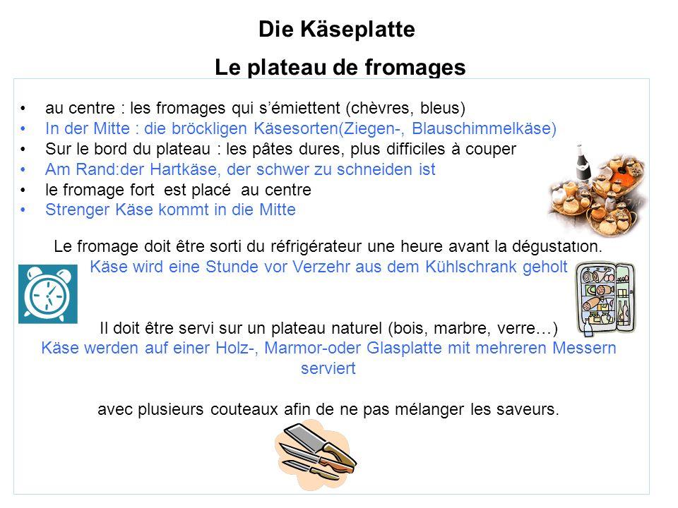 Die Käseplatte Le plateau de fromages