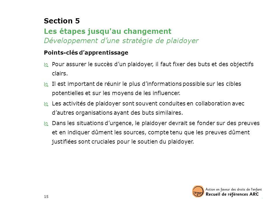 Section 5 Les étapes jusqu au changement Développement d'une stratégie de plaidoyer. Points-clés d'apprentissage.