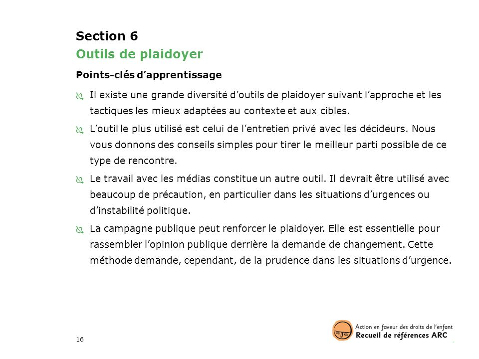 Section 6 Outils de plaidoyer Points-clés d'apprentissage