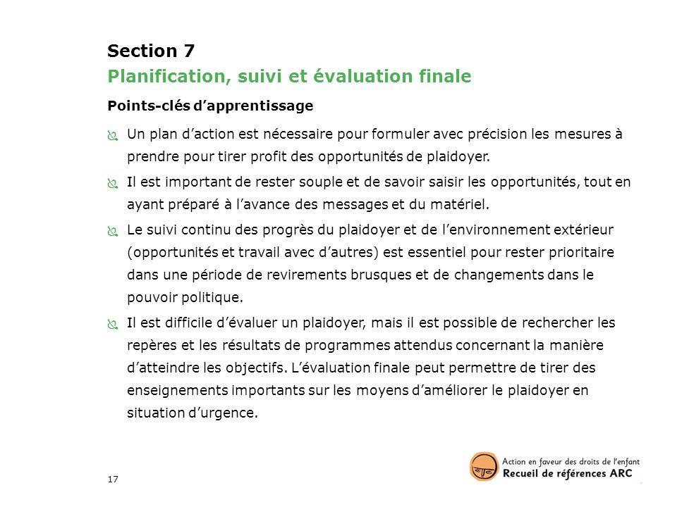 Planification, suivi et évaluation finale