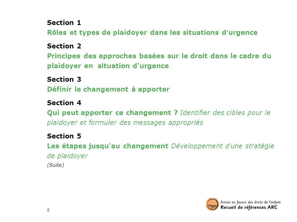 Rôles et types de plaidoyer dans les situations d'urgence Section 2