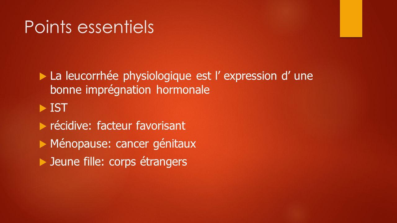 Points essentiels La leucorrhée physiologique est l' expression d' une bonne imprégnation hormonale.