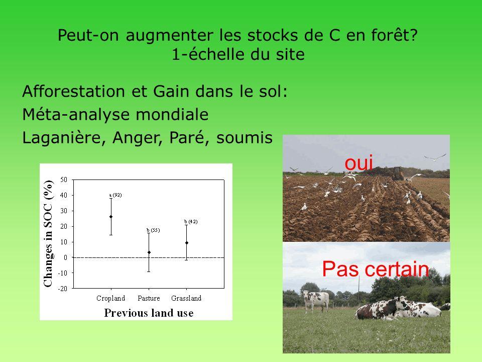 Peut-on augmenter les stocks de C en forêt 1-échelle du site