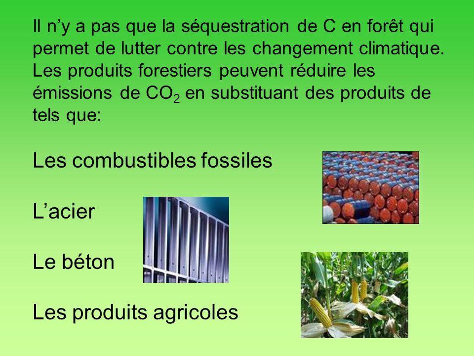 Les combustibles fossiles L'acier Le béton Les produits agricoles