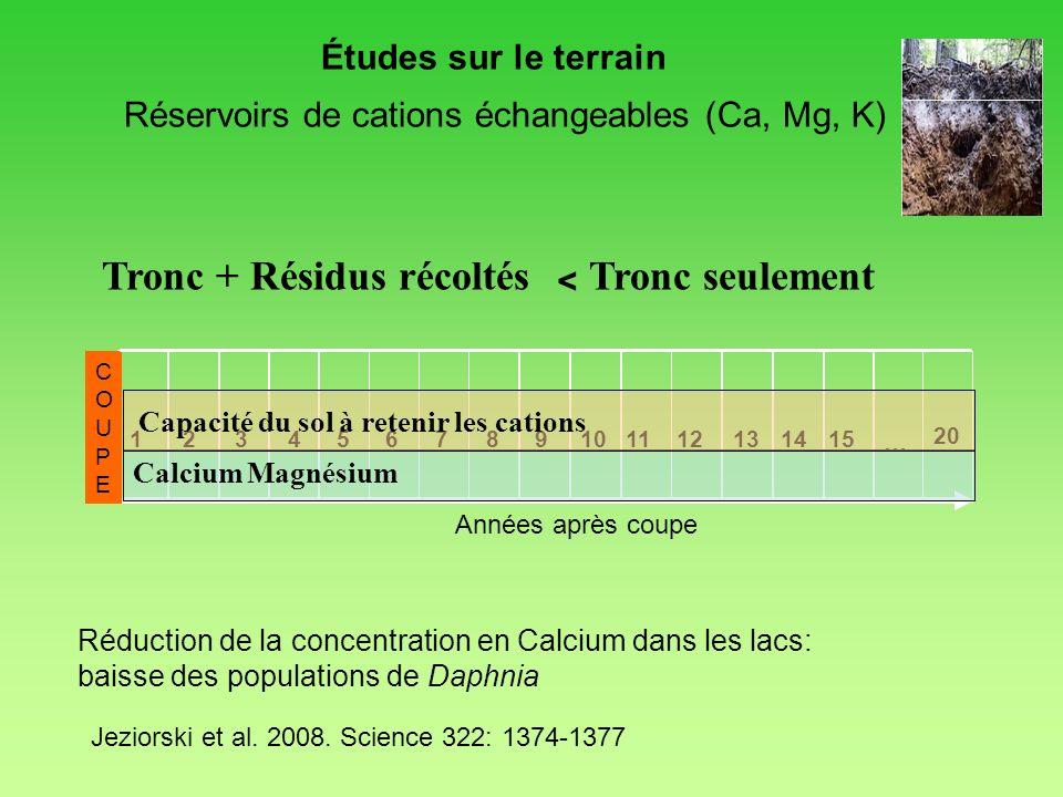 Réservoirs de cations échangeables (Ca, Mg, K)