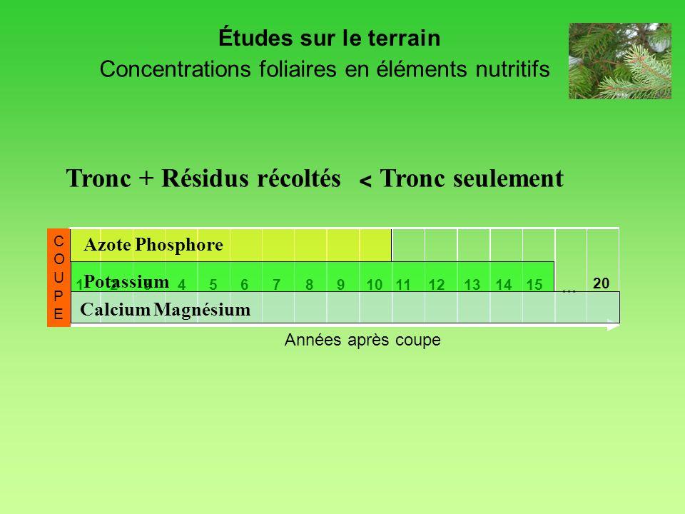Concentrations foliaires en éléments nutritifs
