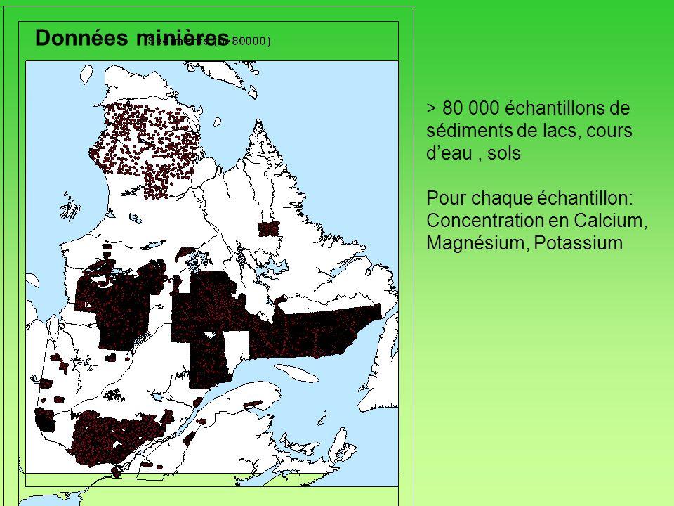Données minières> 80 000 échantillons de sédiments de lacs, cours d'eau , sols. Pour chaque échantillon: