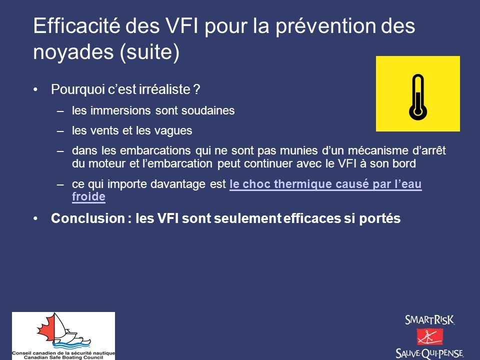 Efficacité des VFI pour la prévention des noyades (suite)