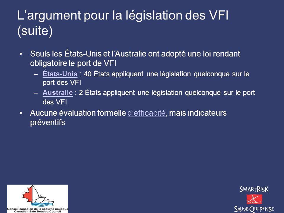 L'argument pour la législation des VFI (suite)