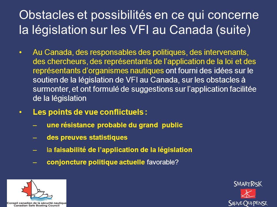Obstacles et possibilités en ce qui concerne la législation sur les VFI au Canada (suite)