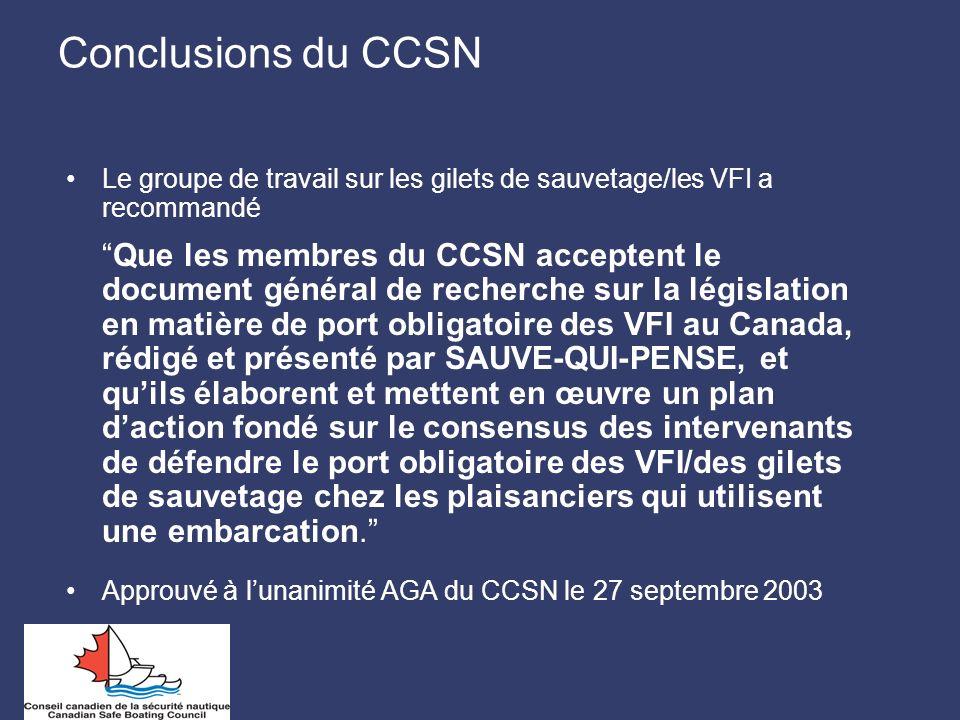Conclusions du CCSN Le groupe de travail sur les gilets de sauvetage/les VFI a recommandé.