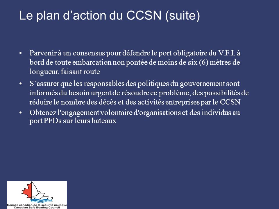 Le plan d'action du CCSN (suite)