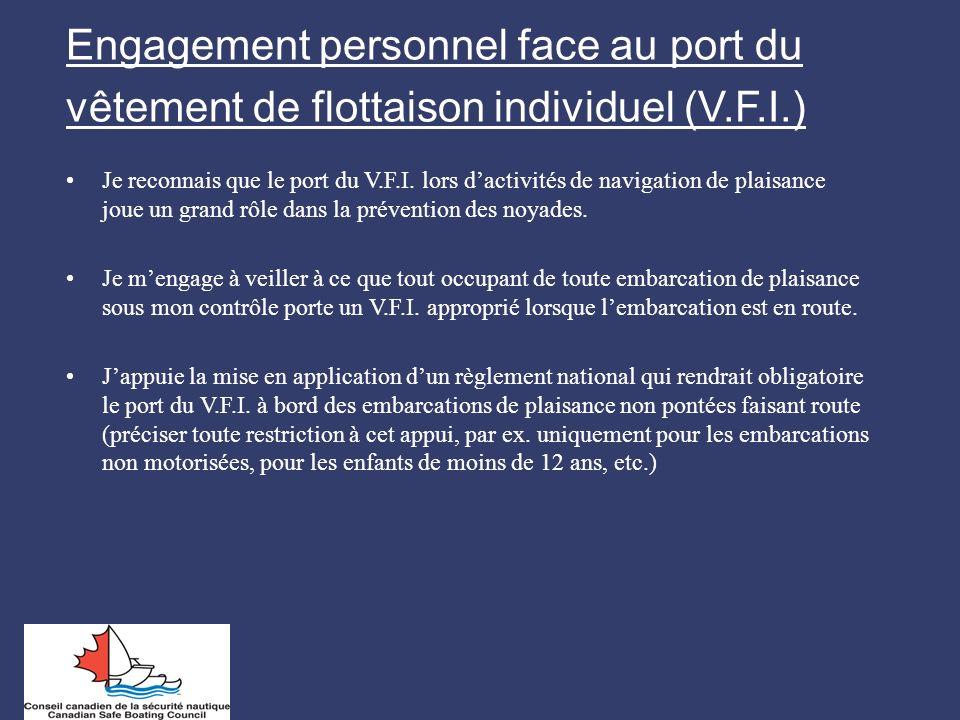Engagement personnel face au port du vêtement de flottaison individuel (V.F.I.)