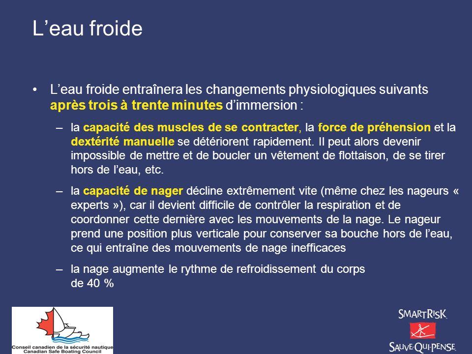 L'eau froide L'eau froide entraînera les changements physiologiques suivants après trois à trente minutes d'immersion :